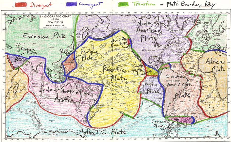 plate tectonics lab hand drawn plate map